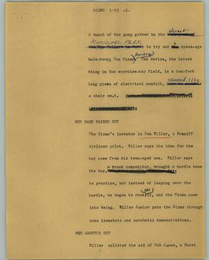 Primary view of object titled '[News Script: Gizmo]'.