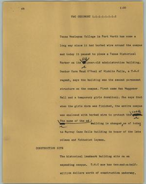 Primary view of object titled '[News Script: TWC Ceremony]'.