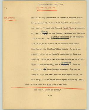 Primary view of object titled '[News Script: Jewish General]'.