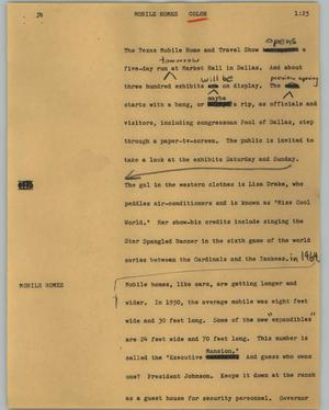 Primary view of object titled '[News Script: Mobile homes]'.