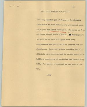 Primary view of object titled '[News Script: Asst. City Manager]'.