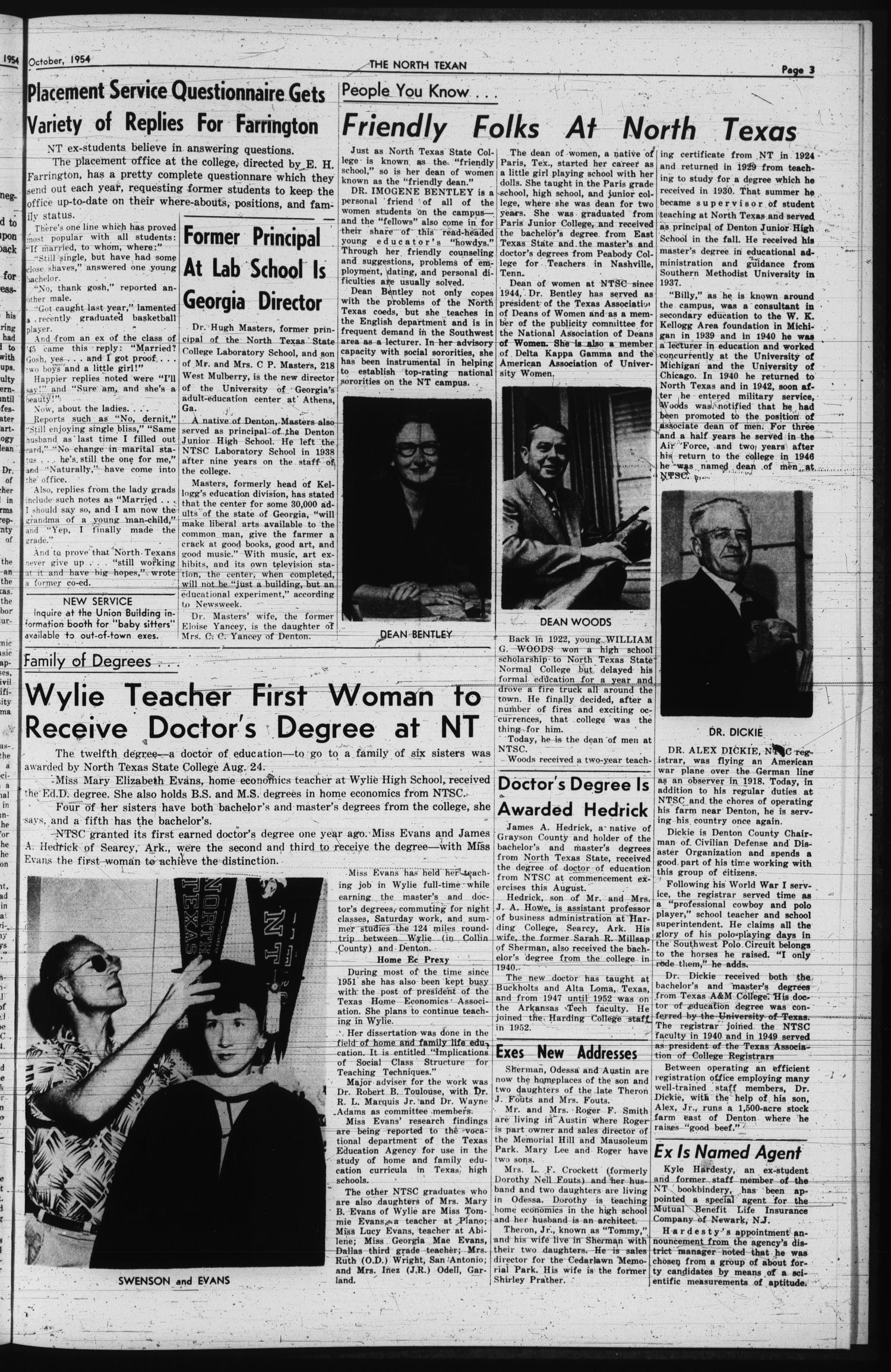 The North Texan, Volume 6, Number 1, October 1954                                                                                                      3