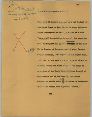 Primary view of object titled '[News Script: Vandergriff Dinner]'.