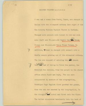 Primary view of object titled '[News Script: Robbers charged]'.