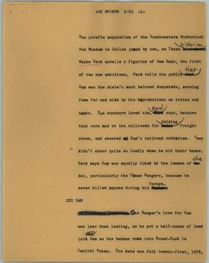 Primary view of object titled '[News Script: Wax museum]'.