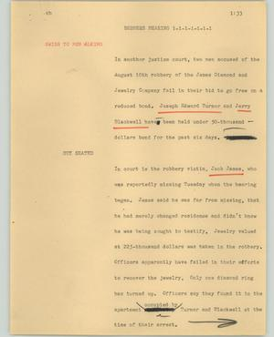 Primary view of object titled '[News Script: Robbers hearing]'.