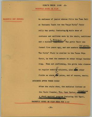 Primary view of object titled '[News Script: Girl's choir]'.