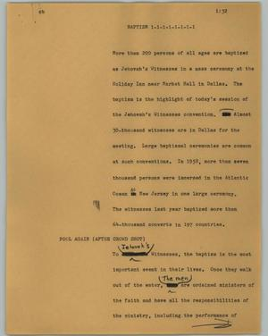 Primary view of object titled '[News Script: Baptism]'.