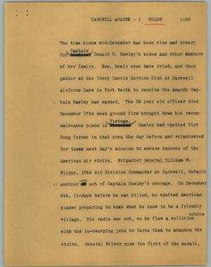 Primary view of object titled '[News Script: Carswell awards]'.