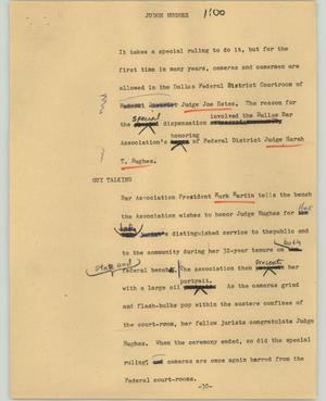 Primary view of object titled '[News Script: Judge Hughes]'.