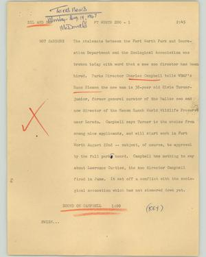 Primary view of object titled '[News Script: Ft Worth Zoo]'.
