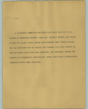 Primary view of object titled '[News Script: CIA}'.