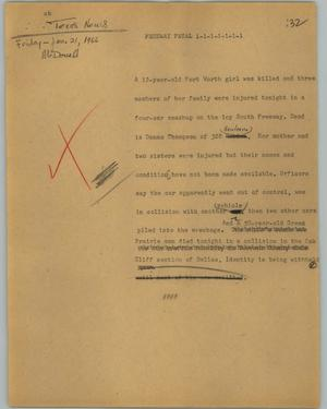 Primary view of object titled '[News Script: Freeway fatal]'.