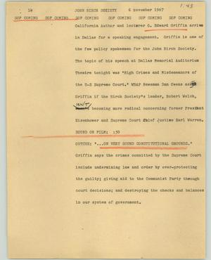 Primary view of object titled '[News Script: John Birch Society]'.