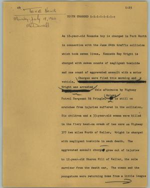 Primary view of object titled '[News Script: Youth charged]'.