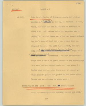 Primary view of object titled '[News Script: Lasher]'.