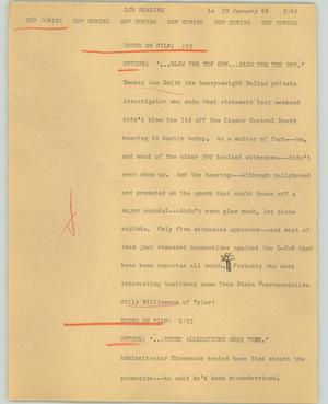 Primary view of object titled '[News Script: LCB Hearing]'.
