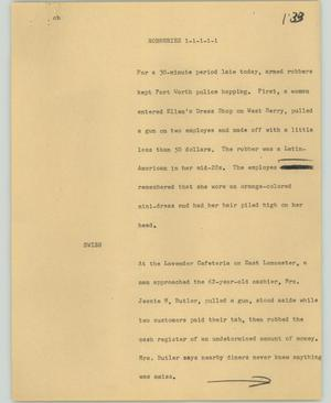 Primary view of object titled '[News Script: Robberies]'.