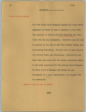 Primary view of object titled '[News Script: Schieffer]'.