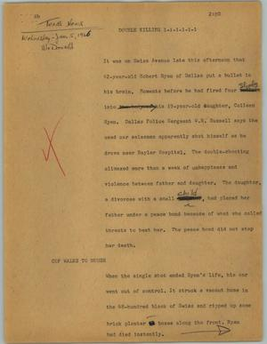 Primary view of object titled '[News Script: Double killing]'.
