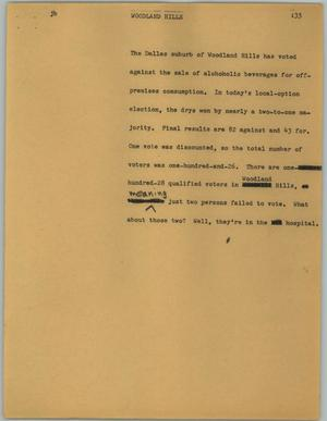 Primary view of object titled '[News Script: Woodland Hills]'.