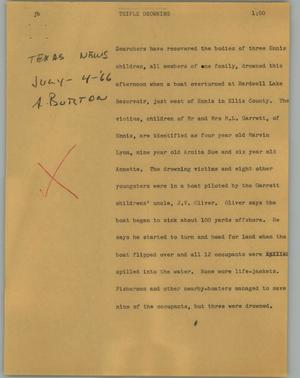 Primary view of object titled '[News Script: Triple drowning]'.