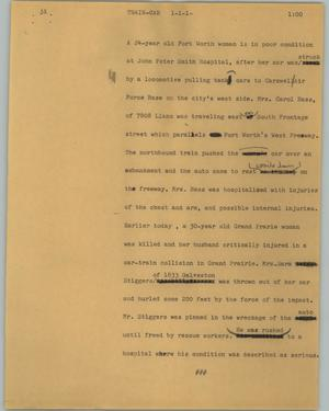 Primary view of object titled '[News Script: Train-car]'.