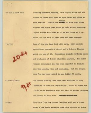 Primary view of object titled '[News Script: New laws]'.