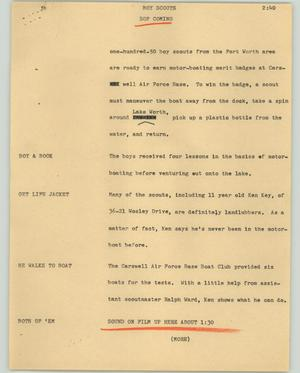 Primary view of object titled '[News Script: Boy scouts]'.