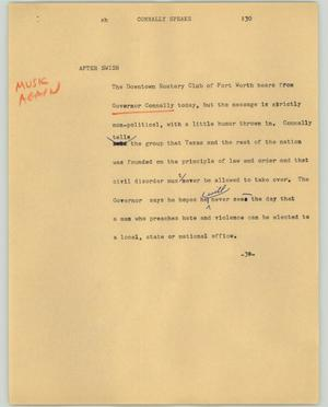 Primary view of object titled '[News Script: Connally speaks]'.