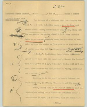 Primary view of object titled '[News Script: Detention center standup]'.