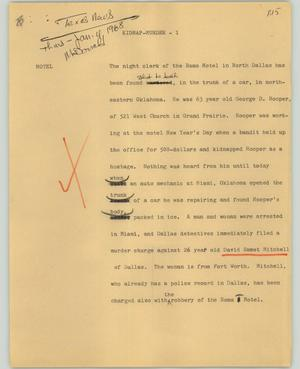 Primary view of object titled '[News Script: Kidnap-murder]'.