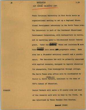 Primary view of object titled '[News Script: Education]'.