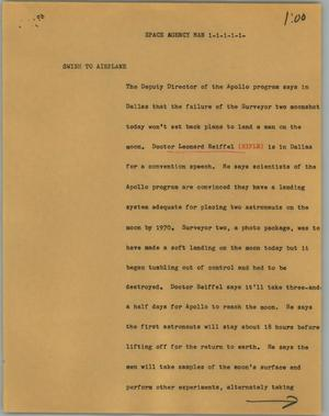 Primary view of object titled '[News Script: Space agency man]'.