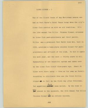 Primary view of object titled '[News Script: Lions dinner]'.