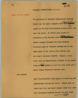 Primary view of object titled '[News Script: Baseball commissioner]'.