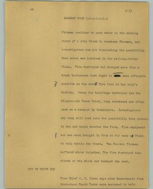 Primary view of object titled '[News Script: Sherman fire]'.