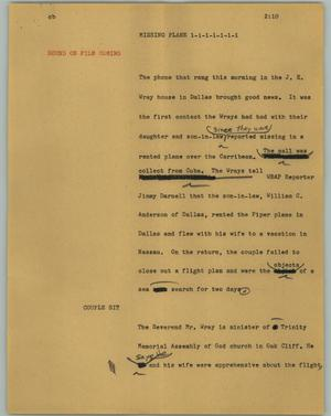 Primary view of object titled '[News Script: Missing plane]'.