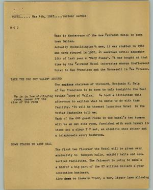 Primary view of object titled '[News Script: Hotel]'.