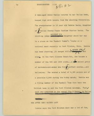 Primary view of object titled '[News Script: Sharpshooter]'.