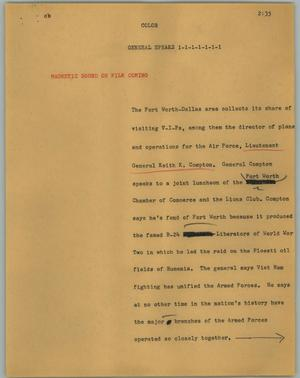 Primary view of object titled '[News Script: General Speaks]'.
