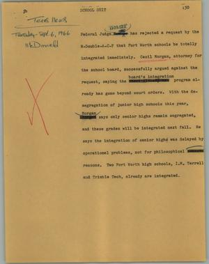 Primary view of object titled '[News Script: School suit]'.