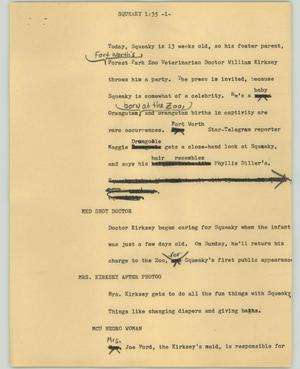Primary view of object titled '[News Script: Squeaky]'.