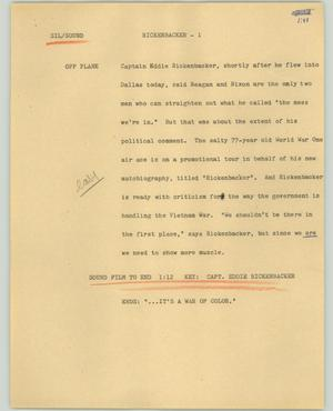 Primary view of object titled '[News Script: Rickenbacker]'.