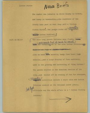 Primary view of object titled '[News Script: Cotton parade]'.