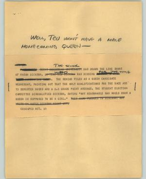 Primary view of object titled '[News Script: Homecoming queen controversy]'.