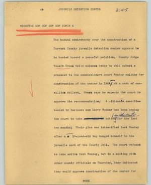 Primary view of object titled '[News Script: Juvenile detention center]'.