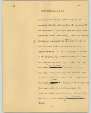 Primary view of object titled '[News Script: Youth corps]'.