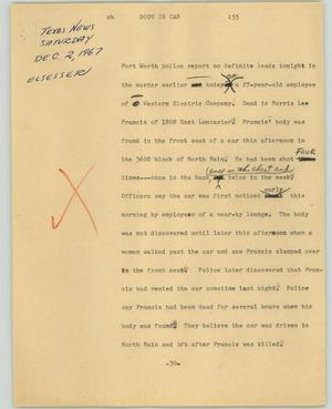 Primary view of object titled '[News Script: Body in car]'.
