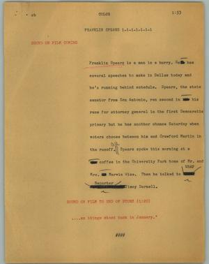 Primary view of object titled '[News Script: Franklin spears]'.